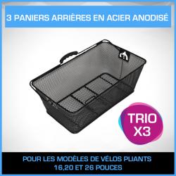 3 PANIERS ARRIÈRES EN ACIER ANODISÉ - PACK TRIO